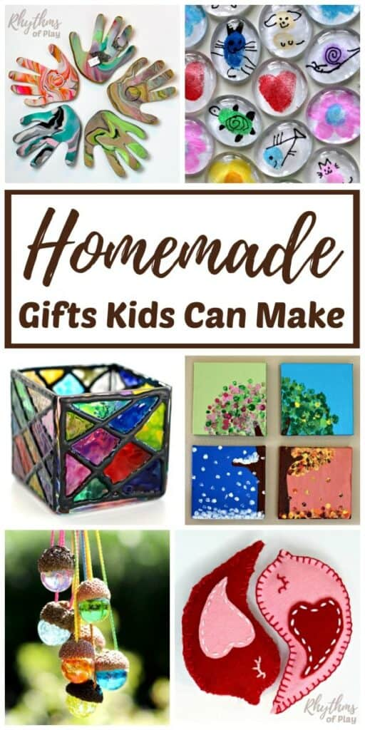 KID MADE GIFTS AND KEEPSAKE CRAFT IDEAS FROM CHILDREN MAKE HOLIDAY GIFT GIVING EASY! HOMEMADE GIFTS THAT KIDS CAN MAKE FOR PARENTS AND GRANDPARENTS ARE ALWAYS A FAVORITE WITH FAMILY, FRIENDS, AND TEACHERS. HELP THE KIDS MAKE ANY OF THESE HANDMADE CRAFTS AND DIY GIFTS FOR CHRISTMAS, MOTHER'S DAY, FATHER'S DAY, A BIRTHDAY, OR YOUR CHILD'S FAVORITE TEACHER!