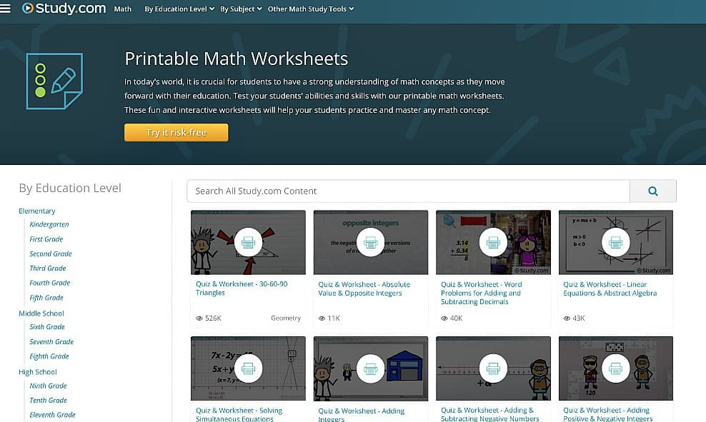 Enhance your lessons through these neat features offered by Study.com. Check out these printable math worksheets for teachers and students here.